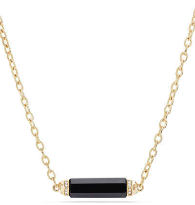 David Yurman Faceted Onyx Barrel Necklace with Diamonds