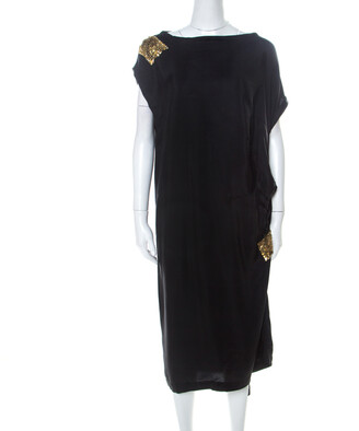 Dries Van Noten Black Silk Sequin Embellished Draped Dress L