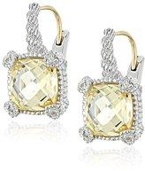 "Judith Ripka Linen"" Yellow Small Cushion Stone Earrings"