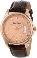 Lucien Piccard Men's 98660-RG-09 Excalibur Rose Textu Dial Brown Leather Watch