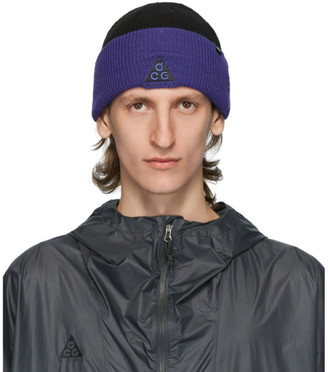 Nike ACG Black and Purple NRG Logo Beanie