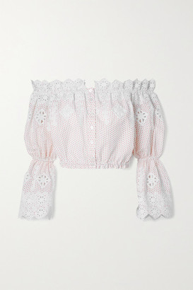 Miguelina Ari Off-the-shoulder Embroidered Polka-dot Cotton-poplin Top - White