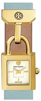 Tory Burch Surrey Watch, Light Blue Leather/Gold-Tone, 22 X 23.5 Mm