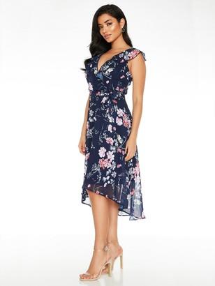 Quiz Floral Frill Front Dip Hem Midi Dress - Blue