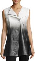 Lafayette 148 New York Yuri Ombre Leather Vest, Black Multi