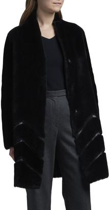 Giorgio Armani Shearling Reversible Leather Chevron Coat