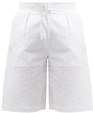 Giuliva Heritage Collection The Stella Broderie-anglaise Linen Shorts - White