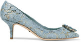 Dolce & Gabbana Crystal-embellished Lace Pumps - Light blue