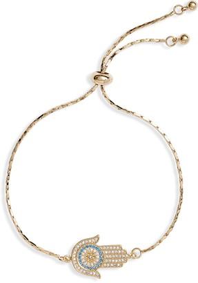 Sterling Forever Hamsa Cubic Zirconia Slider Bracelet