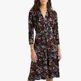 Anne Weyburn Flared Midi Dress in Floral Print with Long-Sleeves