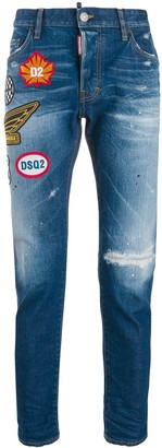 DSQUARED2 Patch Embellished Distressed Skinny Jeans