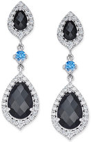 Macy's Onyx (1 ct. t.w.) and Swarovski Zirconia Drop Earrings in Sterling Silver