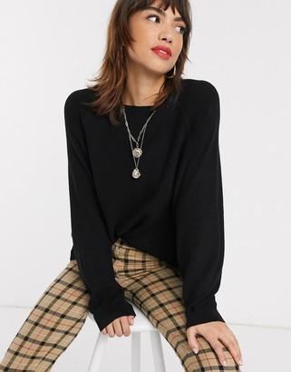 Stradivarius light sweater with ballon sleeve in black