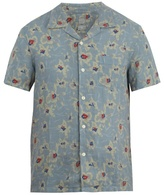 120% Lino Floral-print Short-sleeved Linen Shirt