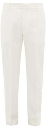 Alexander McQueen Pick-stitched Wool-twill Tapered Trousers - Mens - Ivory