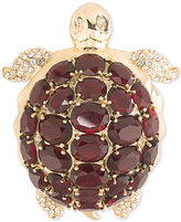 Carolee Gold-Tone Burgundy Stone Turtle Pin