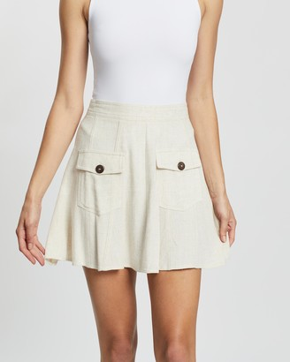 Atmos & Here Atmos&Here - Women's Neutrals Mini skirts - Fia Linen Blend Skirt - Size 6 at The Iconic
