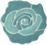 Jessica Simpson 26-Inch x 28-Inch Bloom Bath Rug in Aqua/White