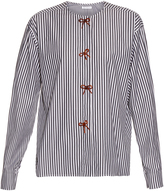 J.W.Anderson Bow-embellished striped cotton shirt