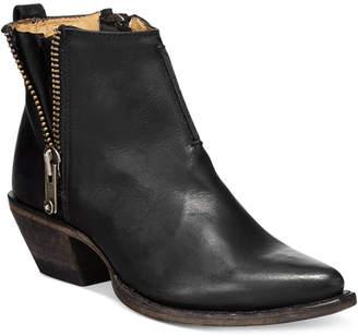 Frye Sacha Side Zip Moto Leather Booties Women Shoes
