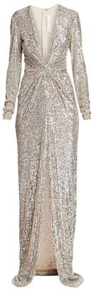 Naeem Khan Plunging Beaded Gown