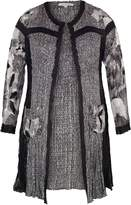 House of Fraser Chesca BlackIvory Patchwork Crush Pleat Coat