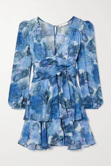 LoveShackFancy Lincoln Printed Silk Crepe De Chine Mini Dress - Blue