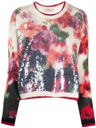 Twin-Set Sequinned Floral Knit Jumper