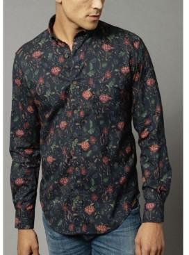 Serge Blanco Men's Long Sleeve Twill Shirt with Chambray Trim