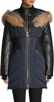 Nicole Benisti Courcheval Fox Fur & Leather-Trim Down Coat