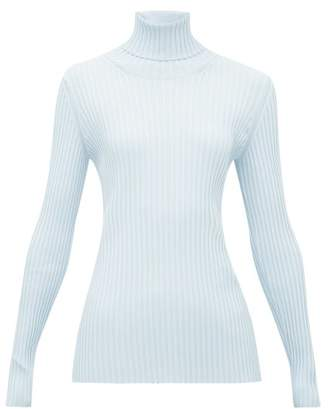 Proenza Schouler Buttoned Cut-out Ribbed Stretch-knit Sweater - Womens - Light Blue