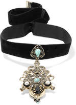 Etro Velvet And Gold-tone Multi-stone Choker