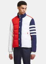 Thom Browne Freedom Funnel Padded Coat In Red And Blue