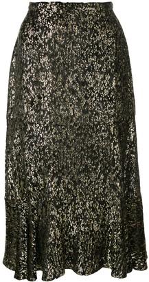 Altuzarra Clementine ruffled metallic skirt