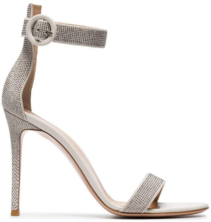 Gianvito Rossi White Crystal 105 Leather Sandal