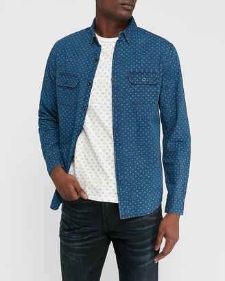 Express Slim Dot Print Button-Down Denim Shirt
