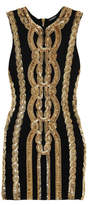 Balmain Embellished Stretch-jersey Mini Dress - Black