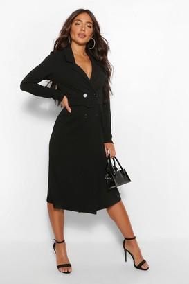 boohoo Belted Wrap Midi Blazer Dress