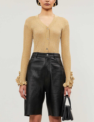 Sandro Ruffle-detail metallic-knit cardigan