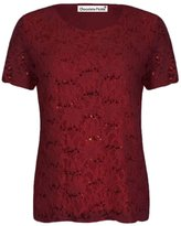 Xclusive Collection New Womens Plus Size Cap Sleeve Floral Lace Sequins Lined Tops US16-18