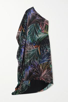 Halpern One-sleeve Metallic Printed Chiffon Maxi Dress - Black