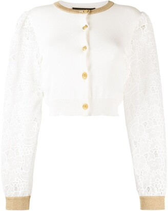 Boutique Moschino Fruit Lace Sleeved Cardigan