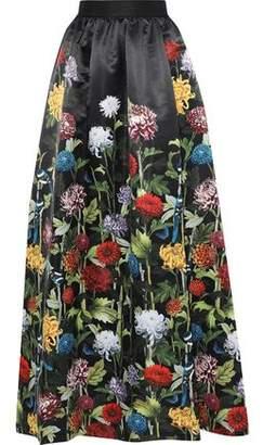 Alice + Olivia Tina Gathered Floral-print Satin Maxi Skirt