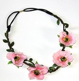 Hippie Love PINK Flower Garland Crown Festival Wedding Hair Wreath BOHO Floral Headband