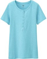 Uniqlo Women's Supima(R) Cotton Short Sleeve Henley Neck T-Shirt