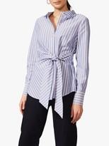 Phase Eight Niona Stripe Tie Shirt, Blue/White