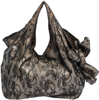 Valentino Black/Beige Lace Large Nuage Bow Hobo