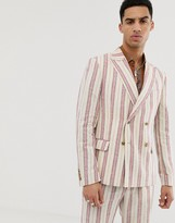 Asos DESIGN skinny double breasted suit jacket in cream linen stripe