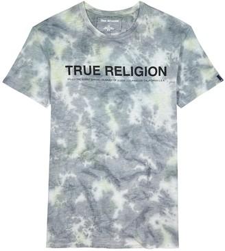 True Religion Grey tie-dyed cotton T-shirt