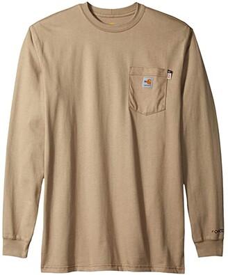 Carhartt Big Tall Flame-Resistant Force Cotton Long Sleeve T-Shirt (Dark Navy) Men's T Shirt